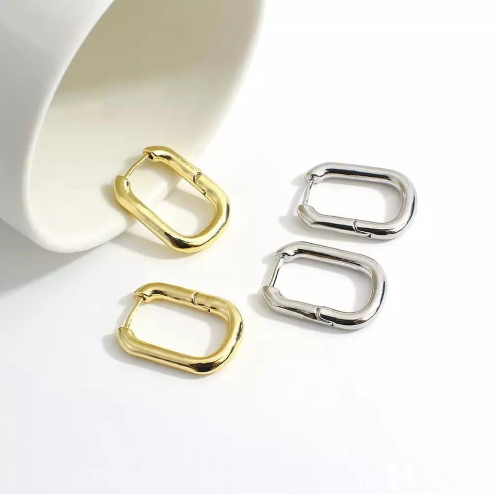 Cute oblong hoop earrings - www.sparklingjewellery.com