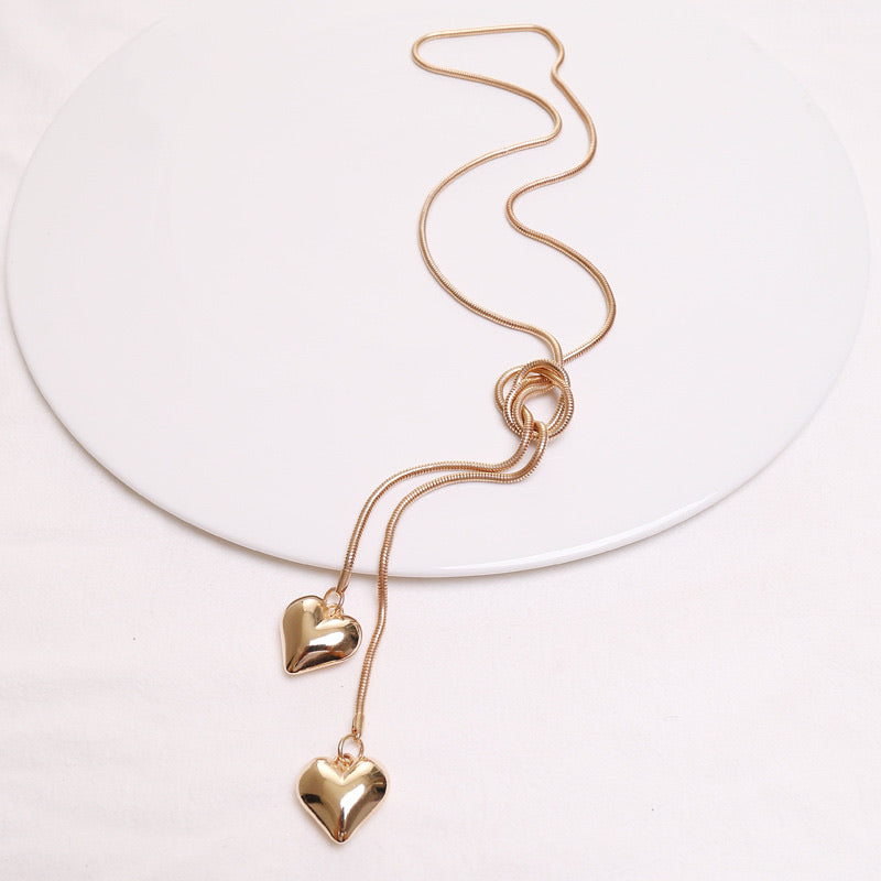 Long Gold Heart Necklace - www.sparklingjewellery.com