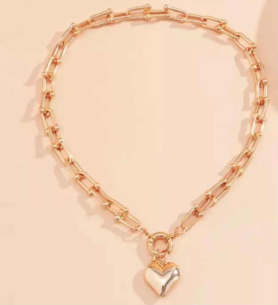 Chunky Gold Heart Necklace - www.sparklingjewellery.com