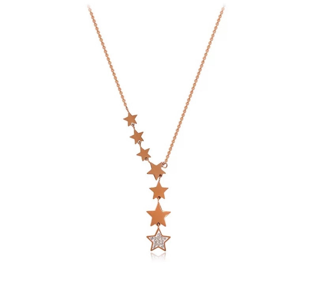 Shooting Stars Necklace Rose Gold - www.sparklingjewellery.com