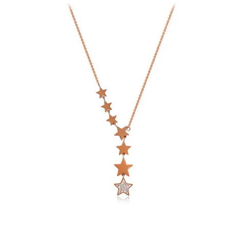 Shooting Stars Necklace Rose Gold