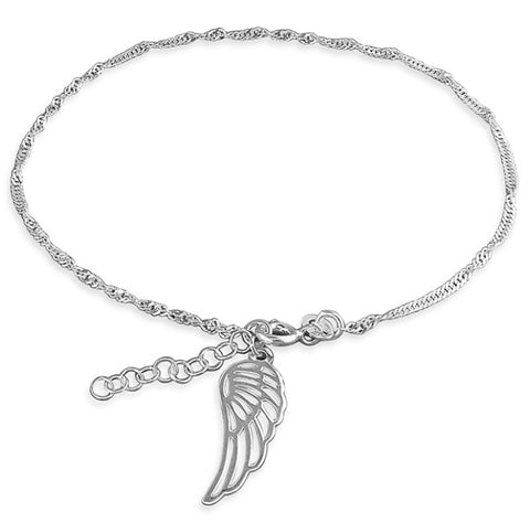 Sterling Silver Angel Wing Ankle Chain - www.sparklingjewellery.com
