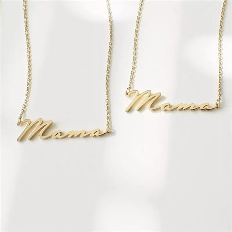 Gold Mama Mothers Day Name Necklace - www.sparklingjewellery.com