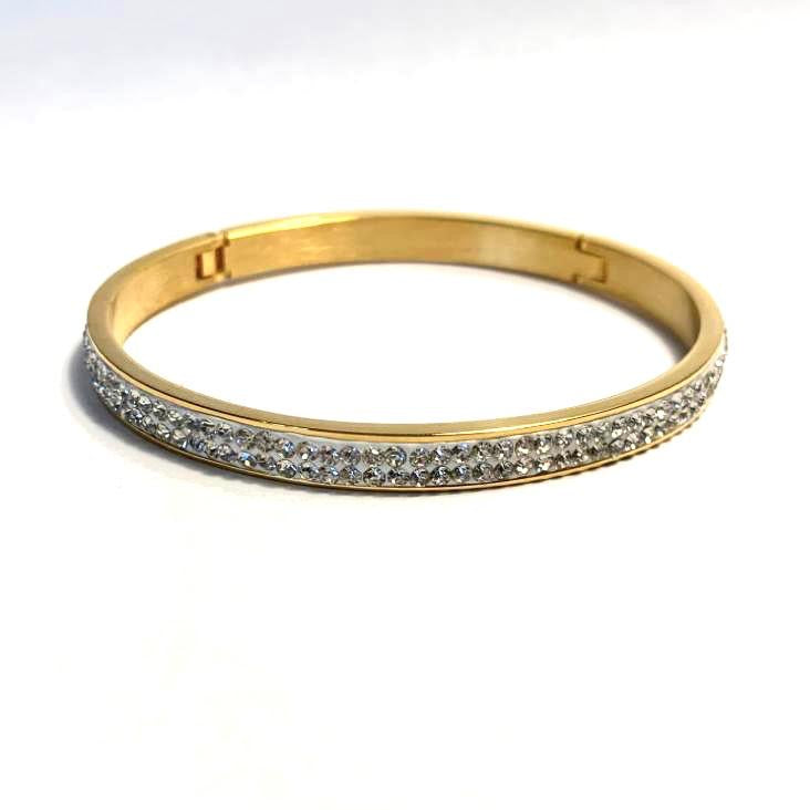 Gold Crystal Bangle - www.sparklingjewellery.com