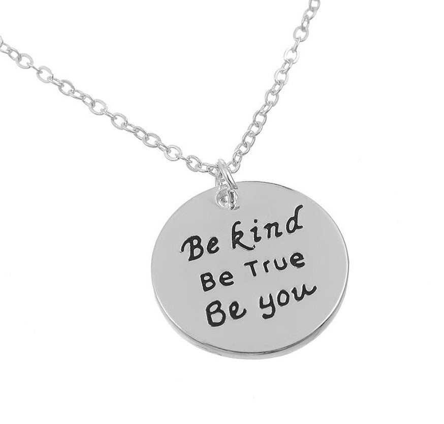 Be Kind Silver Quote Necklace - www.sparklingjewellery.com