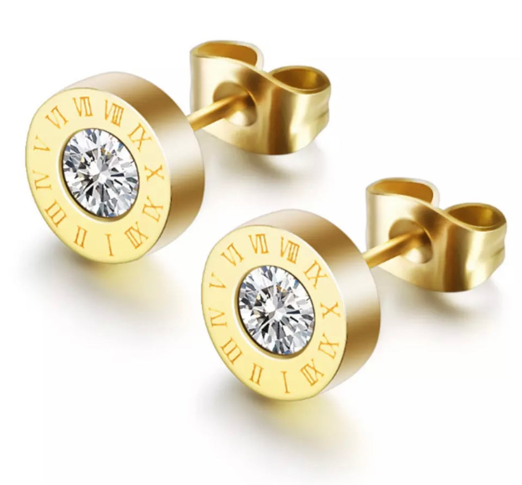 Gold Roman Numeral Earrings - www.sparklingjewellery.com