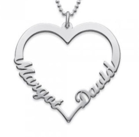 Heart Name Necklace with Two Names - www.sparklingjewellery.com