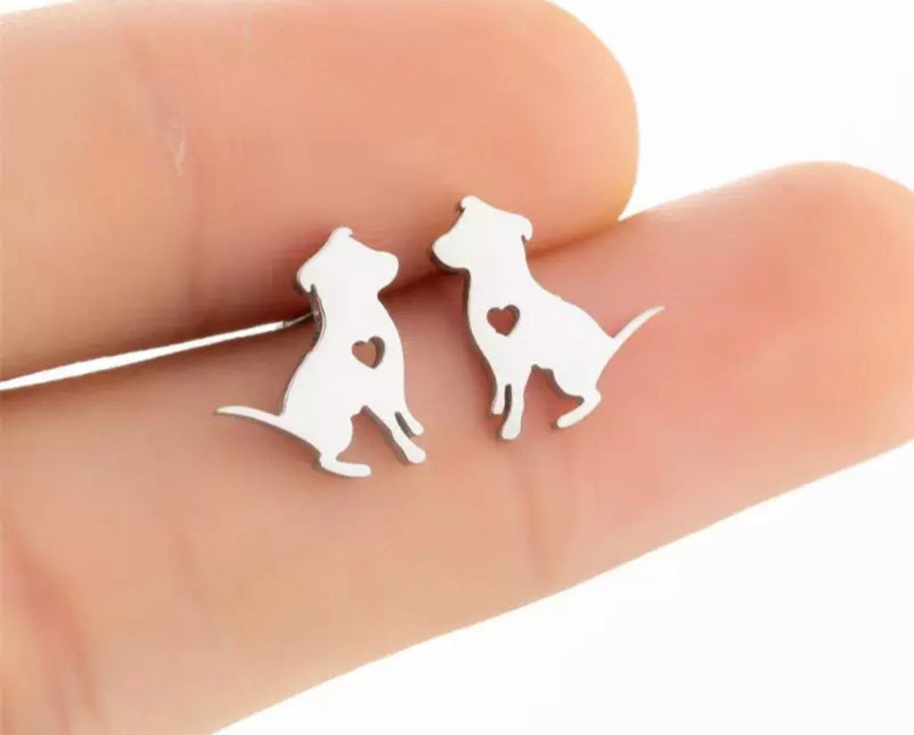 Labrador Silver Earrings - www.sparklingjewellery.com
