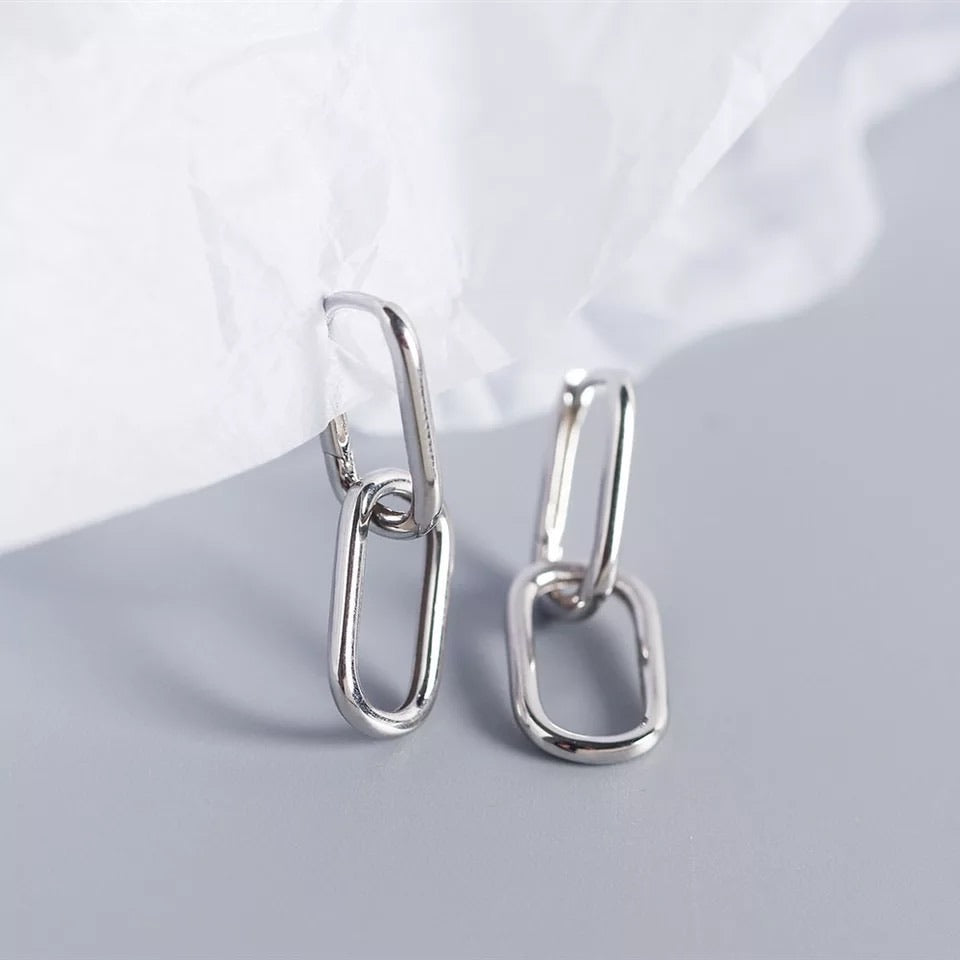 Geometric Dangle Silver Earrings Multi Way - www.sparklingjewellery.com