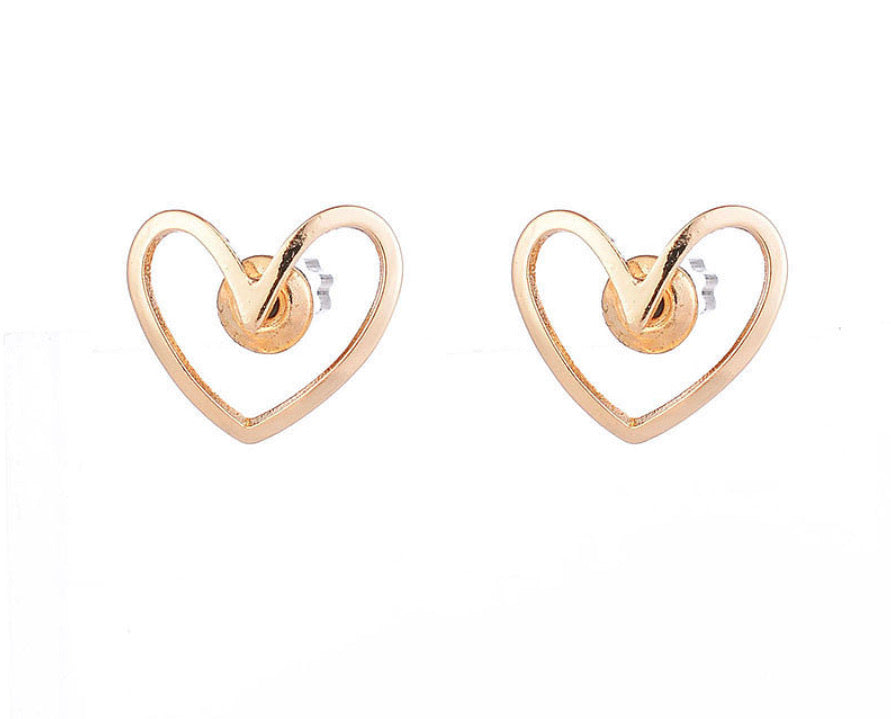 Gold Heart Earrings - www.sparklingjewellery.com