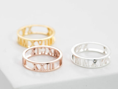 Copy of Roman Numerals Wedding Ring 925 Sterling Silver with Vermeil - www.sparklingjewellery.com