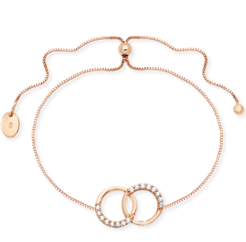 Karma Friendship Bracelet Sterling Silver Rose Gold Vermeil Ltd Edition - www.sparklingjewellery.com
