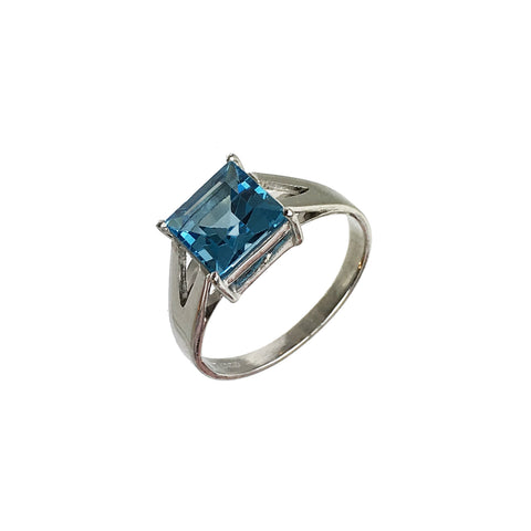 London Blue Topaz Princess Cut Ring