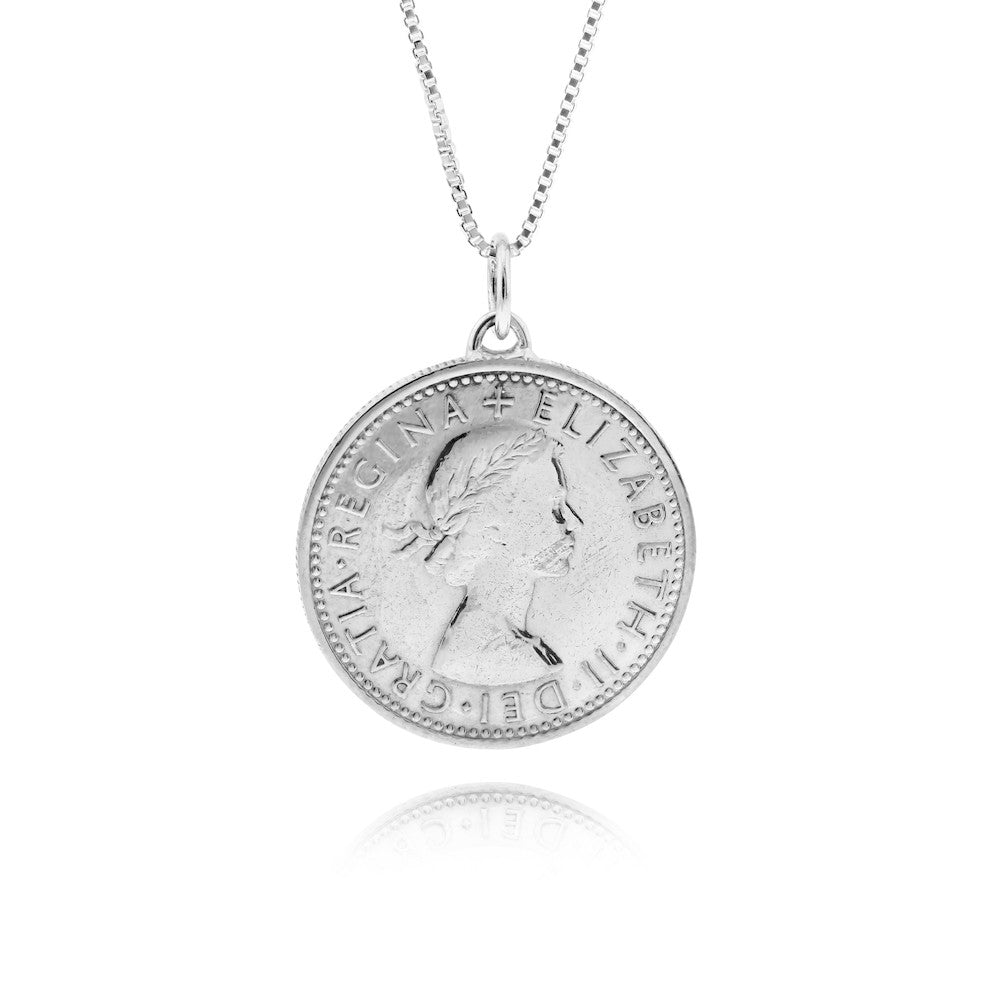 Lucky Silver Sixpence Coin Pendant Necklace - www.sparklingjewellery.com