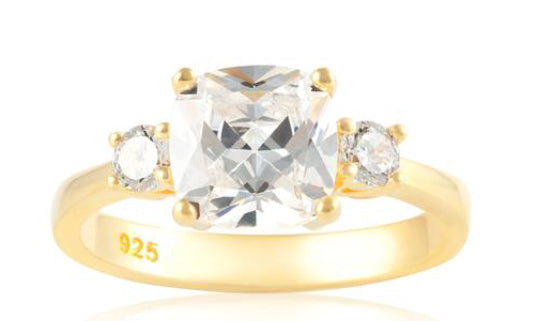 Cushion Cut Trilogy Ring Meghan Markle Gold - www.sparklingjewellery.com