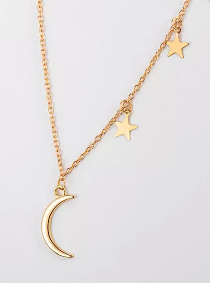 Gold Moon and Star Necklace - www.sparklingjewellery.com