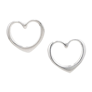 Open Heart Sterling Silver Earrings - www.sparklingjewellery.com