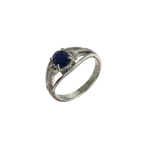Oval Blue Sapphire White Topaz Ring