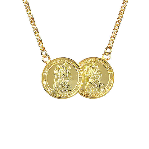 St Christopher Two Coin Necklace - www.sparklingjewellery.com