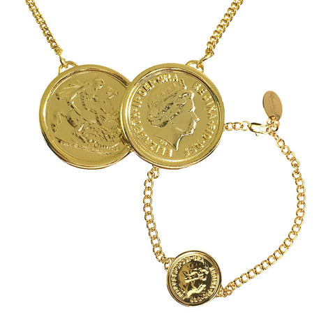 Premium Gold Two Coin Necklace + Free Matching Bracelet