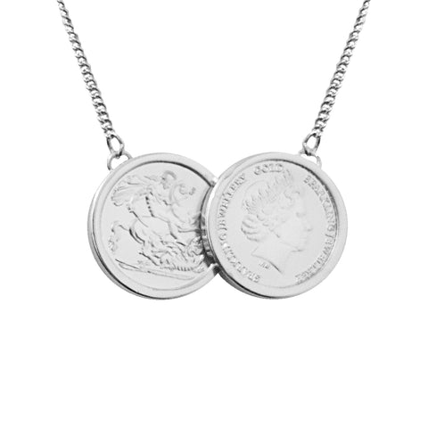 925 Sterling Silver Two Coin Necklace