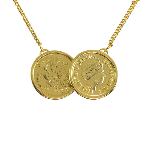 Premium Two Coin Necklace Gold