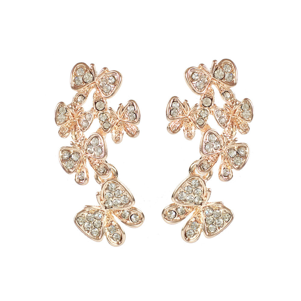 Rose Gold and Crystal Butterfly Earrings - www.sparklingjewellery.com