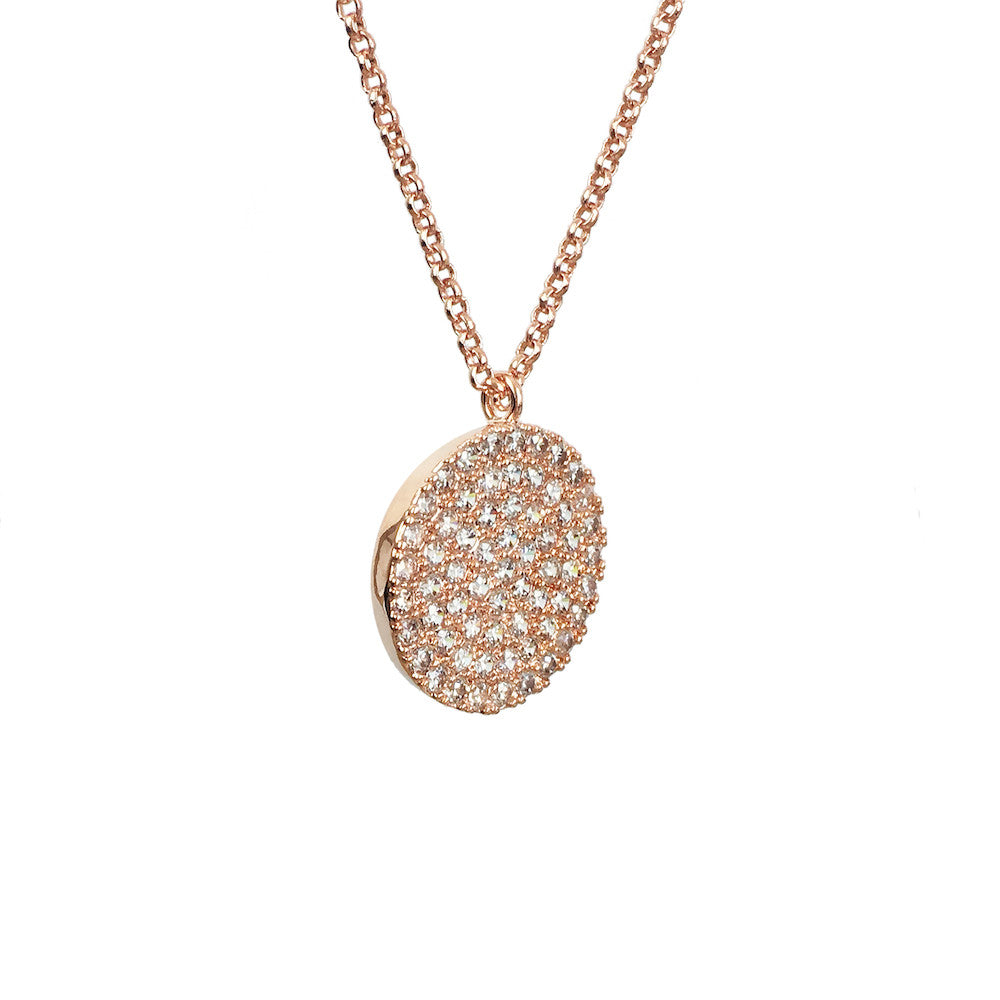 Rose Gold Disk Necklace