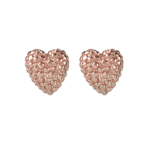 Rose Gold Heart Earrings - www.sparklingjewellery.com