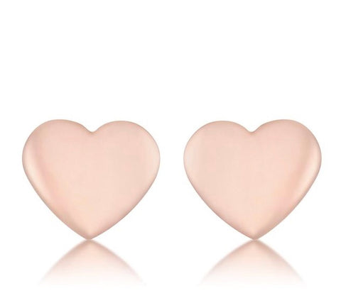 Rose Gold Heart Stud Earrings - www.sparklingjewellery.com