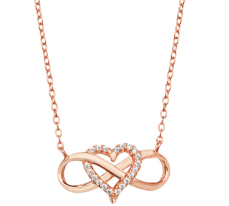 Rose Gold Infinity Heart Necklace