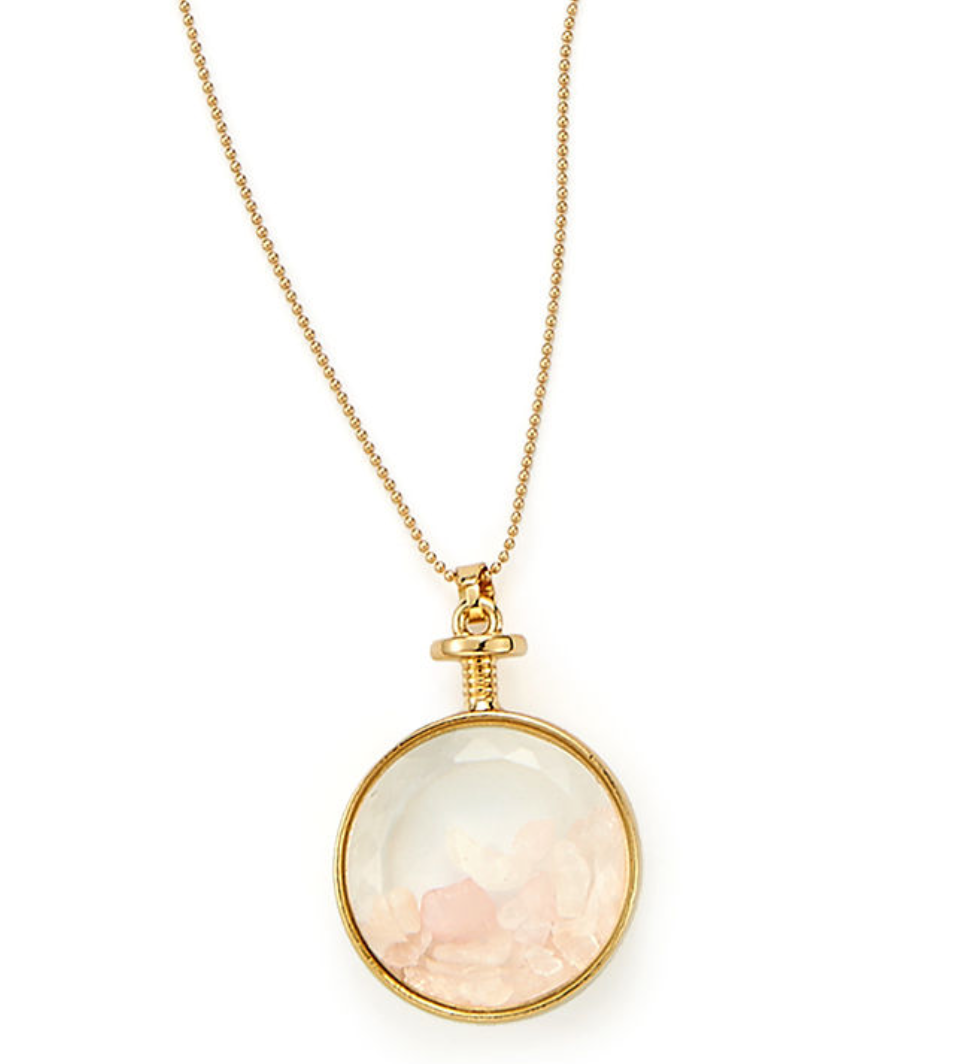 Rose Quartz and Gold Finished Locket - www.sparklingjewellery.com
