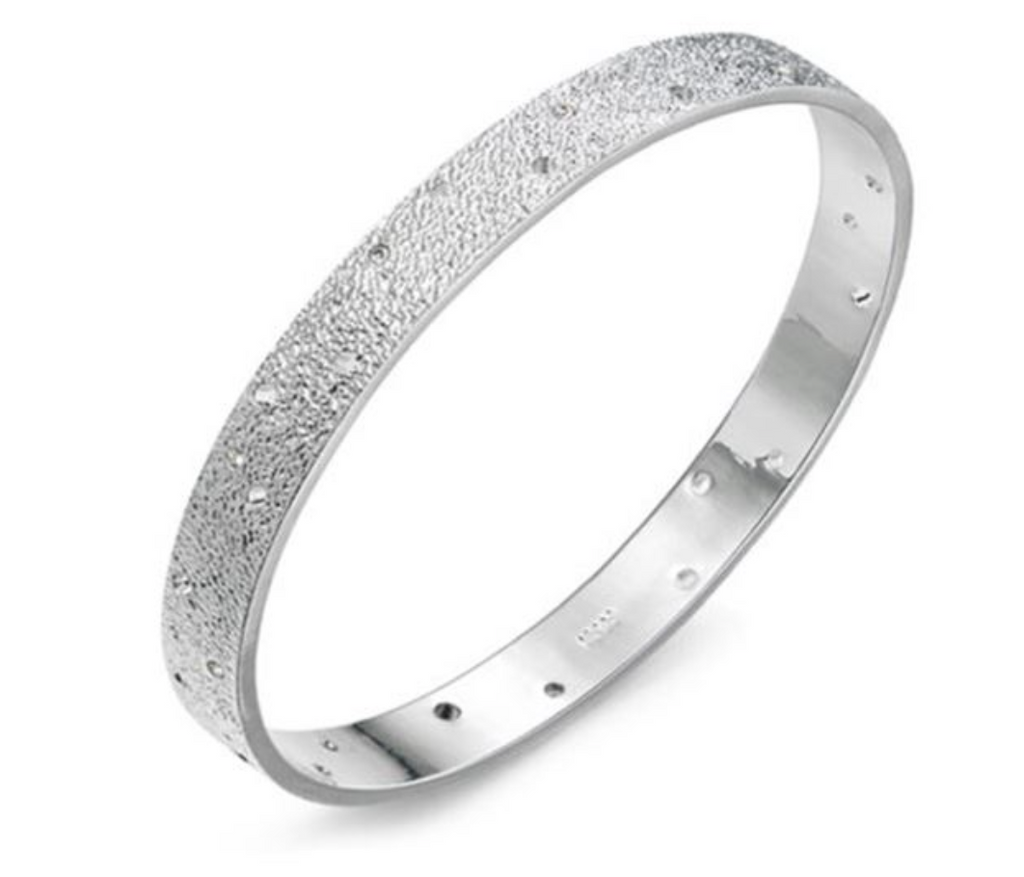 Crystal Silver Coloured Bangle - www.sparklingjewellery.com