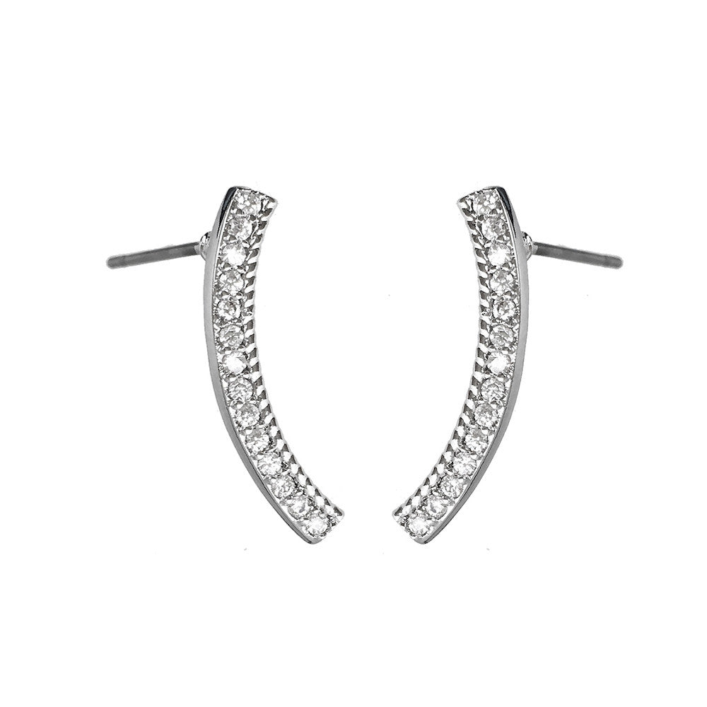 Silver Curved Bar Earrings - www.sparklingjewellery.com