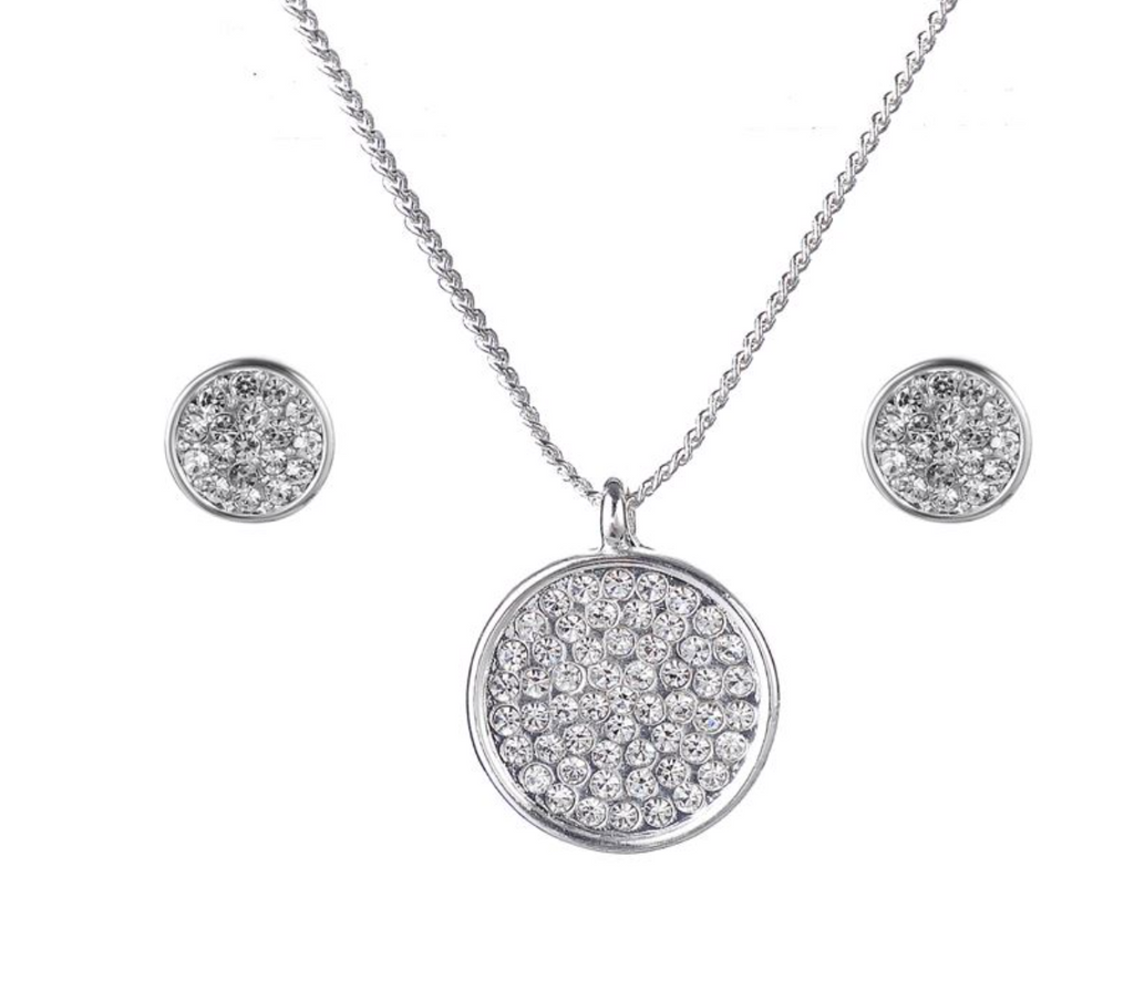 Crystal Disc Pendant and Earring Set - www.sparklingjewellery.com