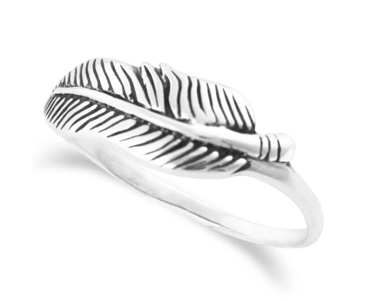 Sterling Silver Feather Ring - www.sparklingjewellery.com