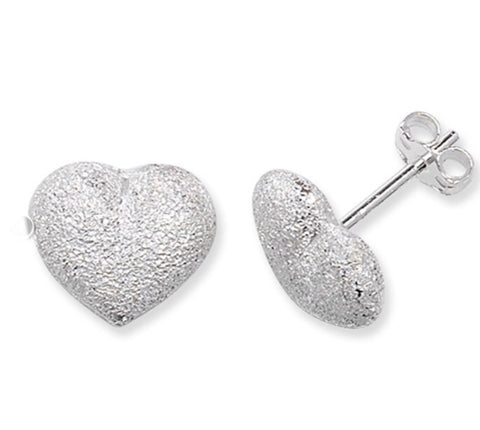 Silver Sparkle Heart Earrings