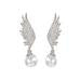 Angel Wing Earrings with Pearl - www.sparklingjewellery.com