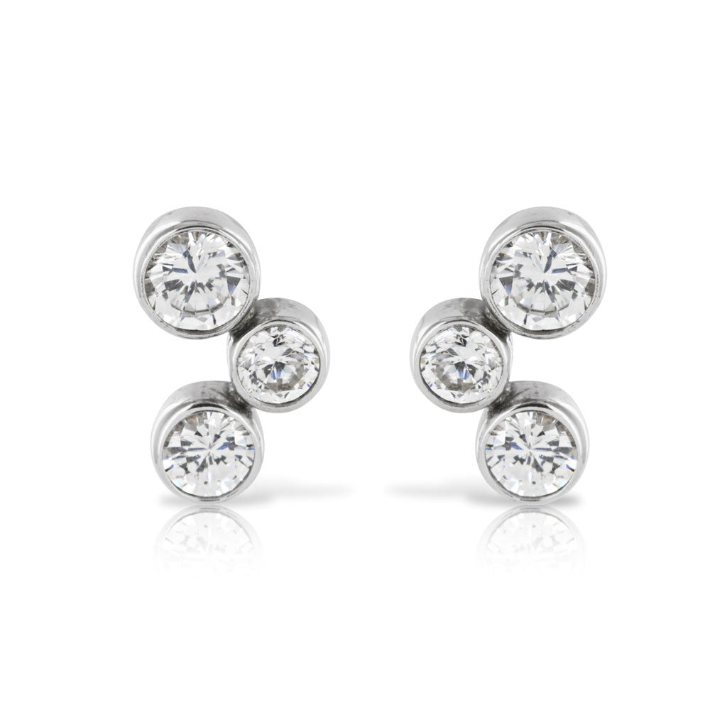 Silver Bezel Set Trilogy Earrings - www.sparklingjewellery.com
