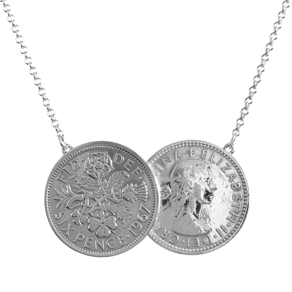 Custom Date Silver Sixpence Two Coin Holly Necklace - www.sparklingjewellery.com