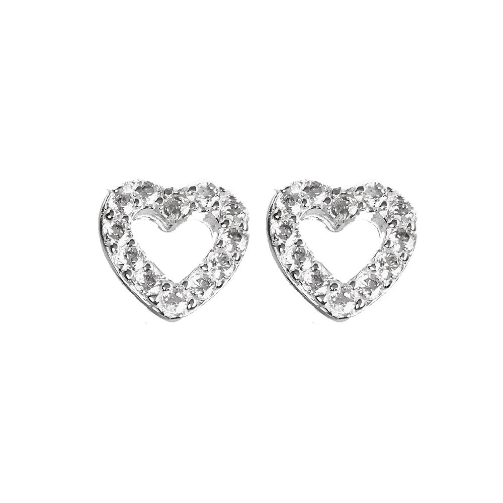 glitter sparkly heart stud mermaid earrings product