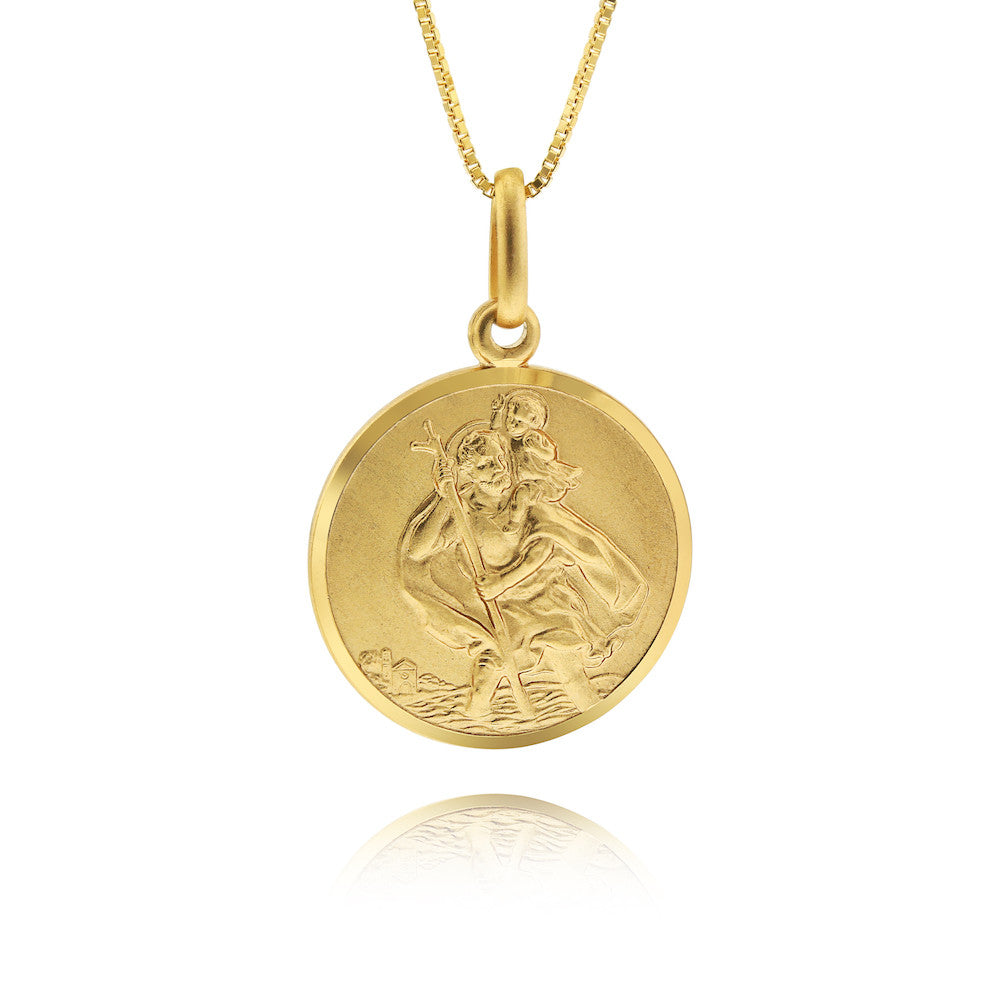 chain stchristopher products single travel gold st christopher saint patron pendant coin necklace