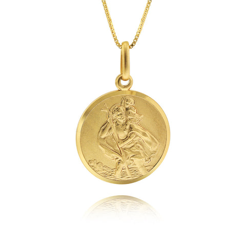 9ct Gold St Christopher Coin Pendant Necklace - www.sparklingjewellery.com