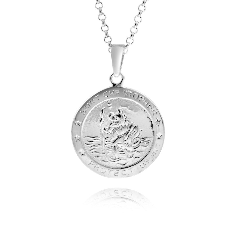 St Christopher Protect Us 925 Sterling Silver Necklace