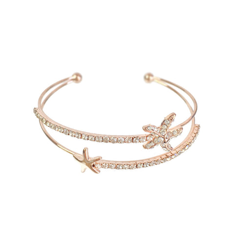 Star Fish Rose Gold Bangle - www.sparklingjewellery.com