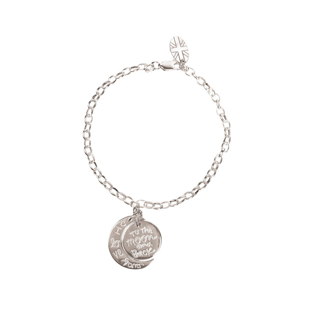 925 Silver - I Love You to the Moon & Back Bracelet - www.sparklingjewellery.com