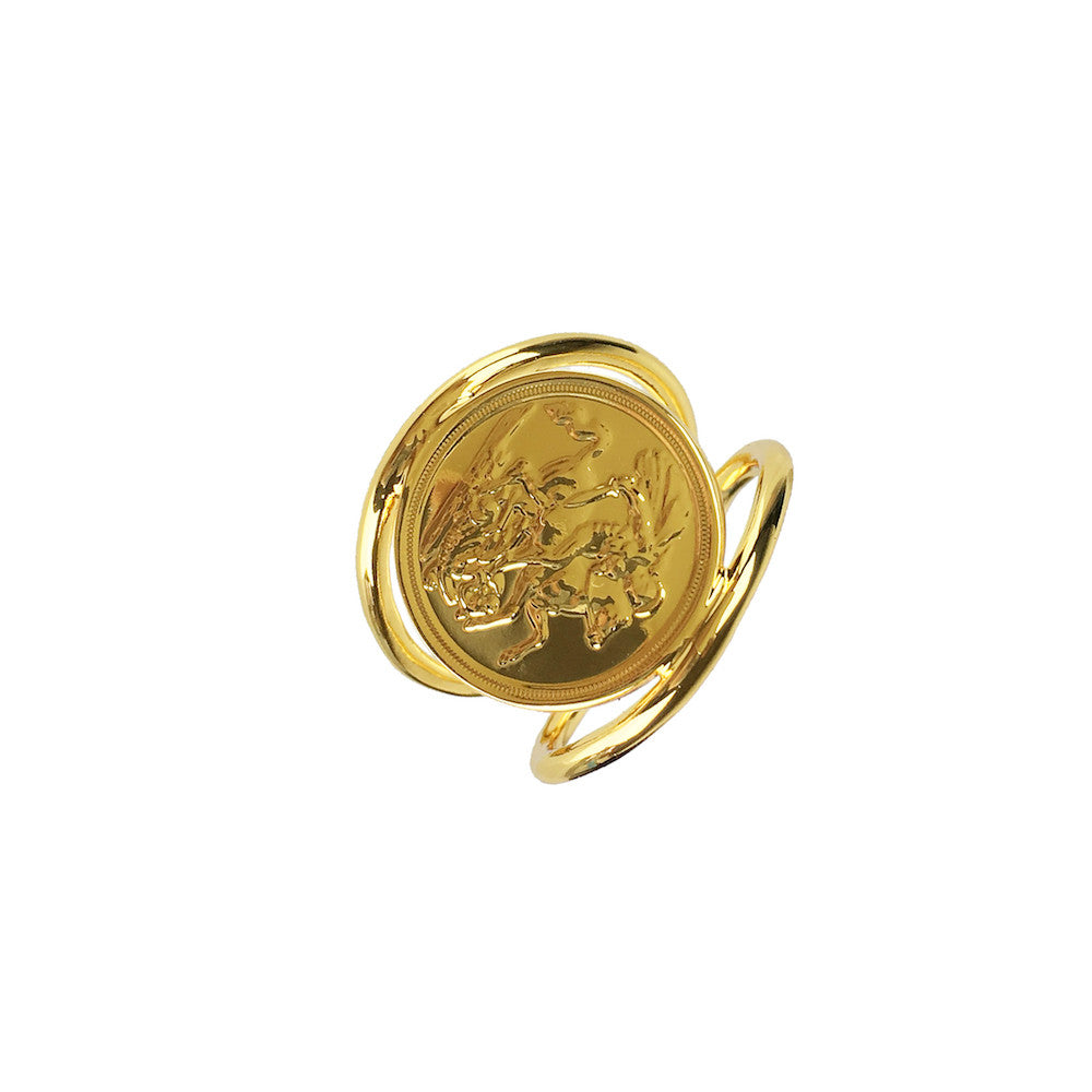 Faux Sovereign Coin Ring - www.sparklingjewellery.com