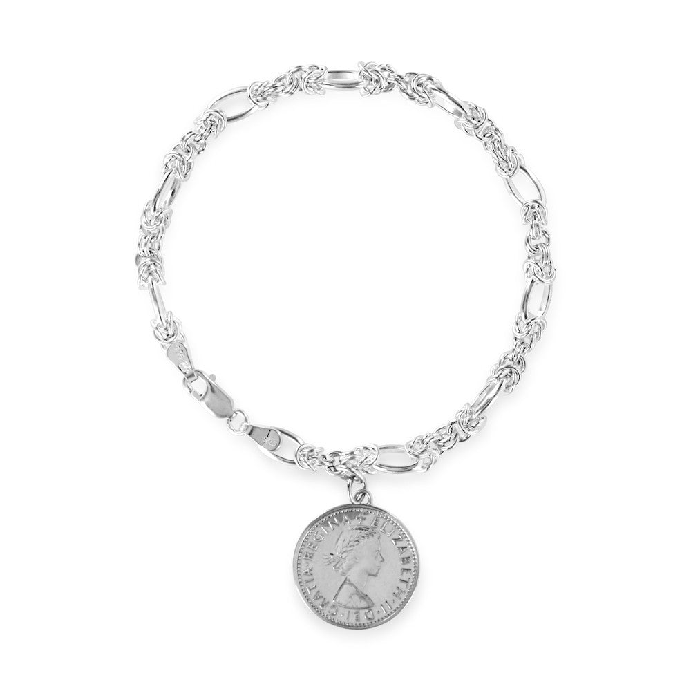 Silver Sixpence Coin Toggle Bracelet - www.sparklingjewellery.com