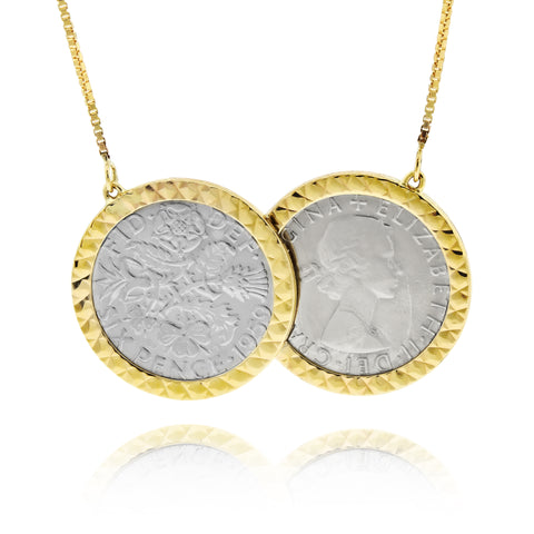 Diamond Cut Vintage Two Coin Silver Sixpence Necklace 9ct gold - www.sparklingjewellery.com