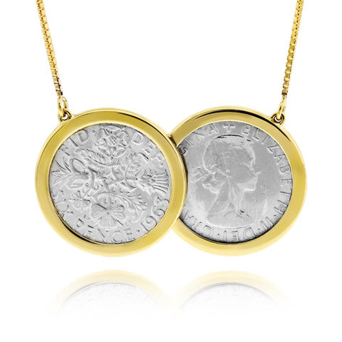 Two Coin Vintage Silver Sixpence Necklace - www.sparklingjewellery.com